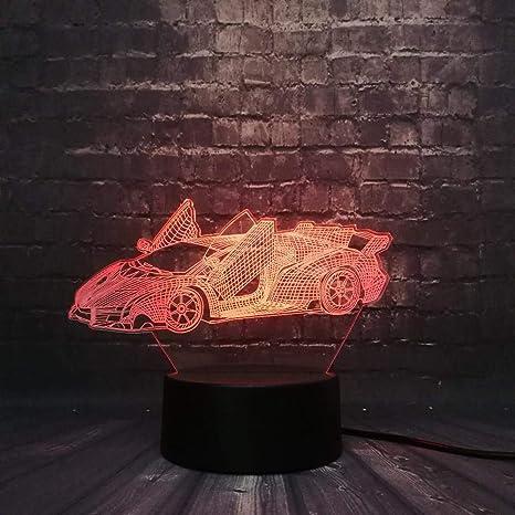 LED 3D Coche Lámpara Decoración de de carreras noche trChxsQd