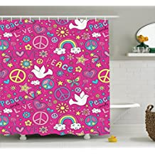 Ambesonne 1960s Decorations Collection, Sunshine Birds Mushroom Acoustic Shooting Star Creative Design, Polyester Fabric Bathroom Shower Curtain, 84 Inches Extra Long, Magenta Pink Yellow Blue White
