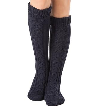 Mujer Calcetines hasta Las Rodillas, Tukistore Color Puro Calcetines Largos de Punto elásticos Calcetines Altos de la Rodilla Medias de piernas Invierno ...