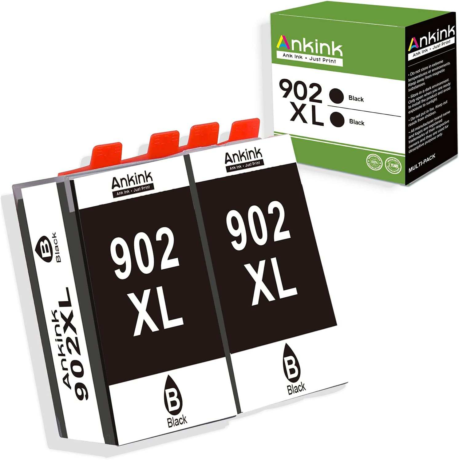 Ankink Compatible Ink Cartridge Replacement for HP 902XL 902 XL Ink Cartridge for Officejet Pro 6978 6968 6962 6958 6970 6950 6960 HP 902 Ink Cartridges Printer Combo (2 Black 2 Pack)