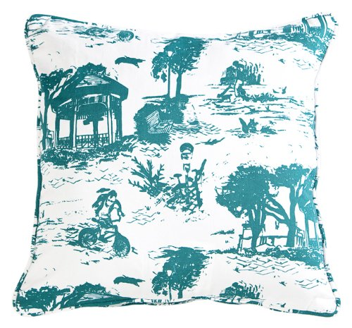 (Working Class Studio The Savannah Toile Collection Pillow, Teal, 18-inch Square)