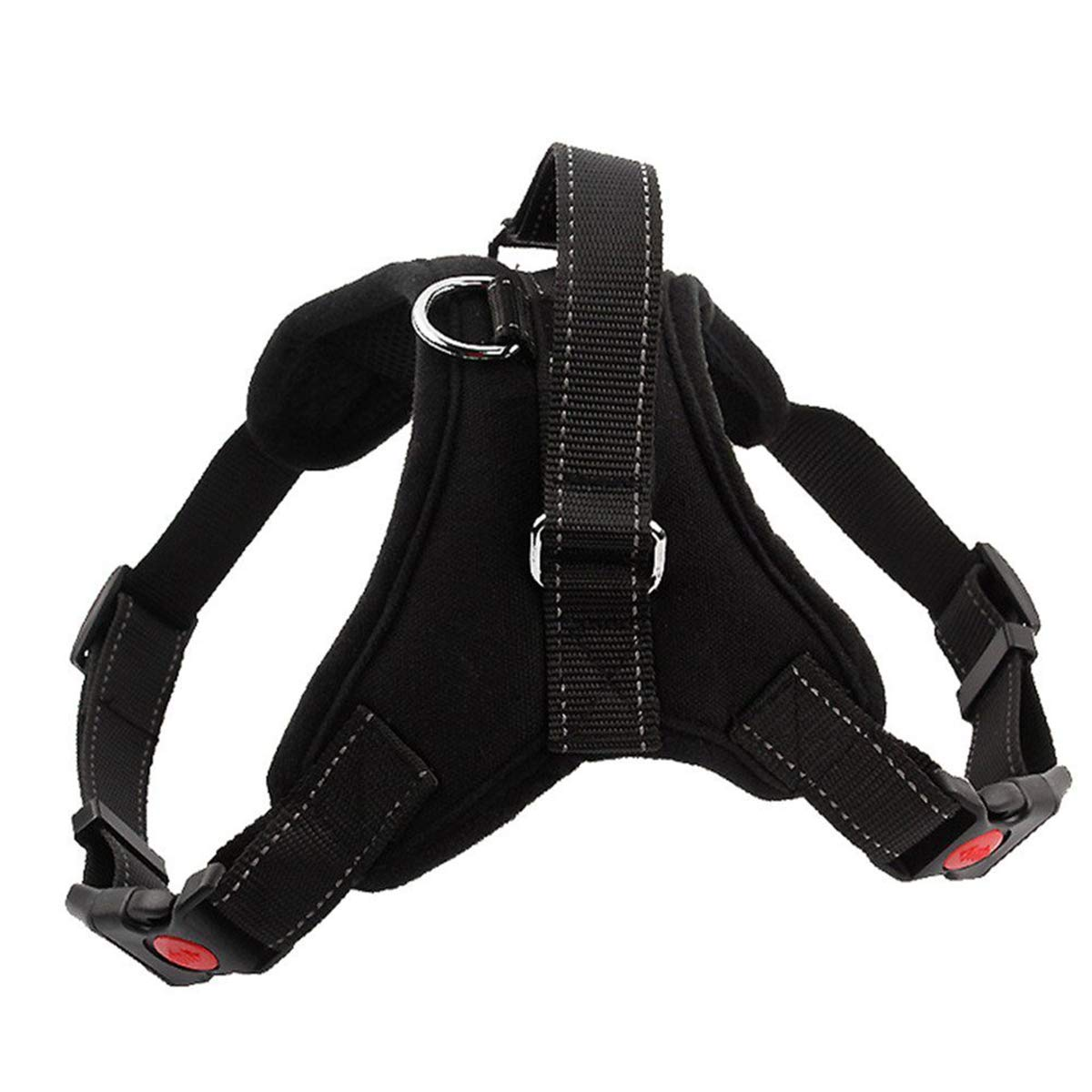 Black XL Black XL Vinca Mascot Black No Pull Dog Harness with Handle Adjustable Pet Heavy Duty Reflective Safety Harnesses Padded Chest Vest for Small Medium XL Large Dogs Daily Walking Traning Traveling (Black,XL)