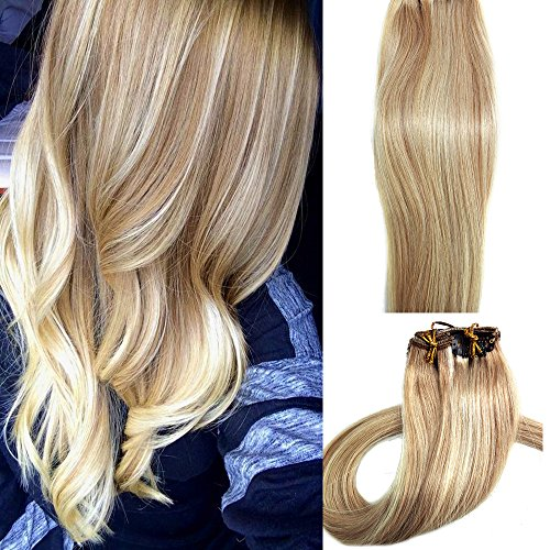Myfashionhair Clip in Hair Extensions Real Human Hair Extensions 15 inches 70g Clip on for Fine Hair Full Head 7 pieces Silky Straight Weft Remy Hair (15 inches, #27-613)