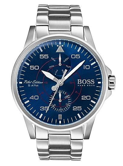 Hugo BOSS Reloj Multiesfera para Hombre de Cuarzo con Correa en Acero Inoxidable 1513519: Amazon.es: Relojes