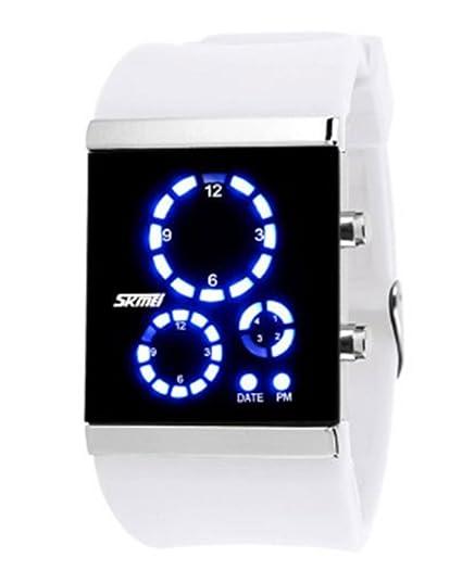 grandes reloj digital del LED estudiantes de silicona blanca pulsera de moda los amantes de las mujeres agradables reloj romántico: Amazon.es: Relojes