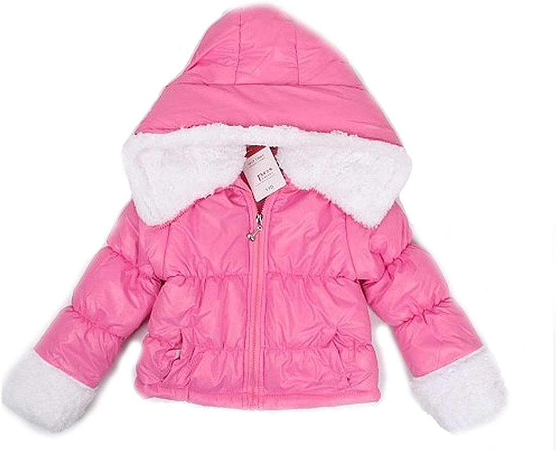 SOPO Baby Girls Cotton-padded Coat Winter Warm Lambs Wool Jackets 3-6Y Pink