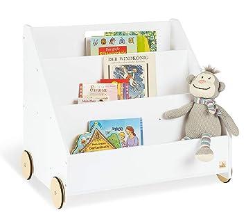 BÜCHERKISTEN AUS HOLZ auf Rädern für Kinder Bücherregal Kinderbücherregal