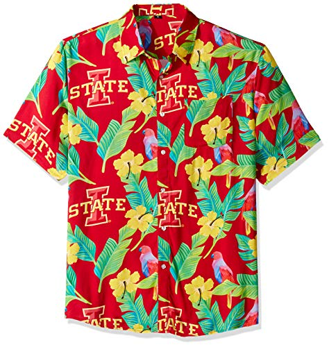 NCAA Iowa State Cyclones Foco Floral Button Up Shirt, Team Color, Large