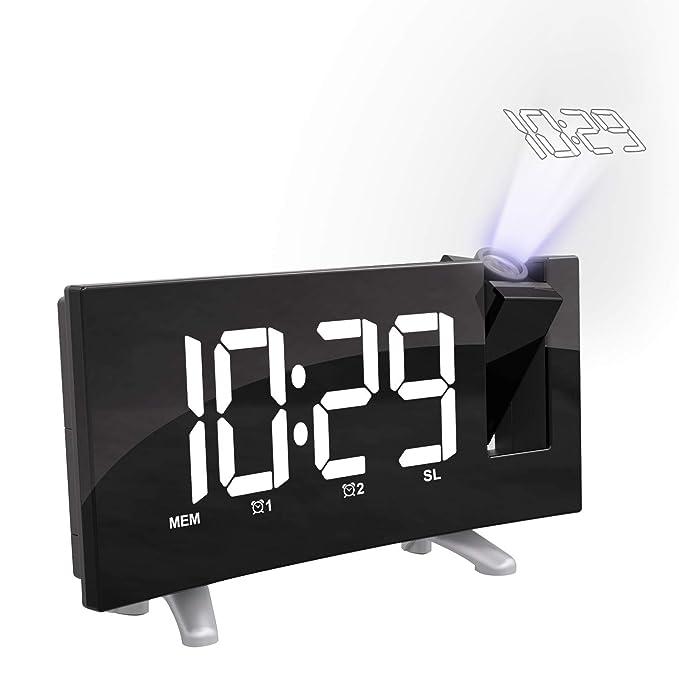 Cynthia Radio Despertador Digital Proyector, FM Radio Reloj Despertador con Proyector Digital de Alarma Dual con 4 Brillos Ajustables, Pantalla LED 7.5