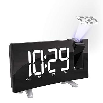 Cynthia Radio Despertador Digital Proyector, FM Radio Reloj Despertador con Proyector Digital de Alarma Dual