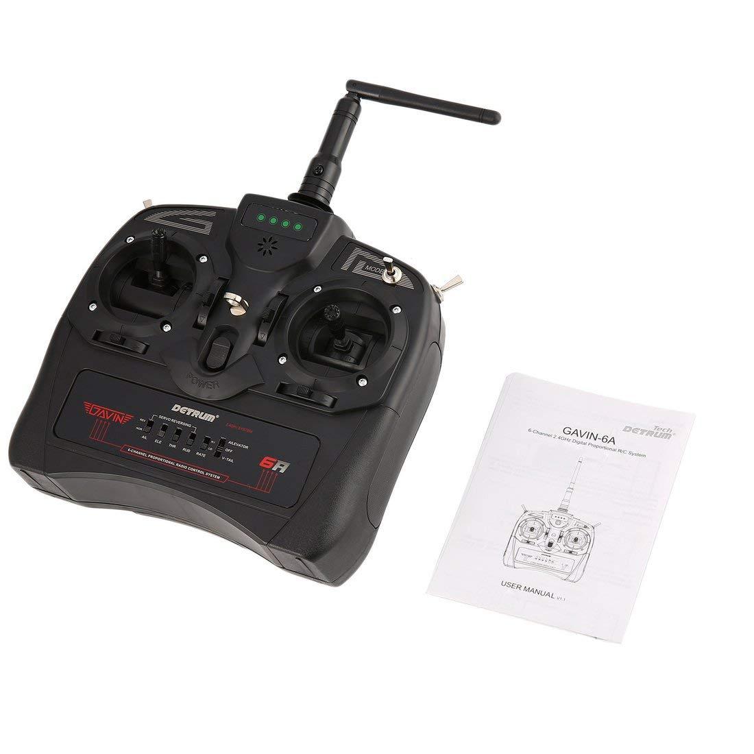 Detrum 2,4 g GAVIN-6A DSSSS FHSS 8CH Radio System Sender Elektronische RXC7 Empfänger für RC Flugzeug Stiefel Auto Modell - Schwarz