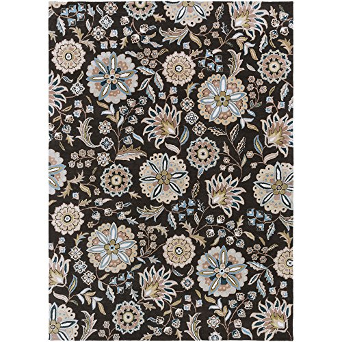 Surya Athena ATH-5061 Transitional Hand Tufted 100% Wool Jet Black 8' x 11' Floral Area - 811 Biscotti