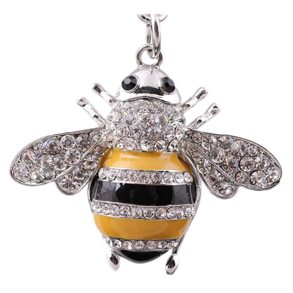 Gold 1xToruiwa Key Ring Key Chain Holder Cute Small Bee Key Pendant Key Decorated with Rhinestones Hanging Ornaments Craft for Key Handbag Phone Bag Decoration Gift