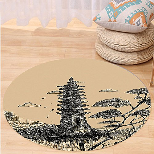 VROSELV Custom carpetAsian Decor Old Stone Tiered Tower Vintage Style Taoist House Of Faith Historical Illustration Bedroom Living Room Dorm Decor Pale Brown Black Round 72 inches by VROSELV