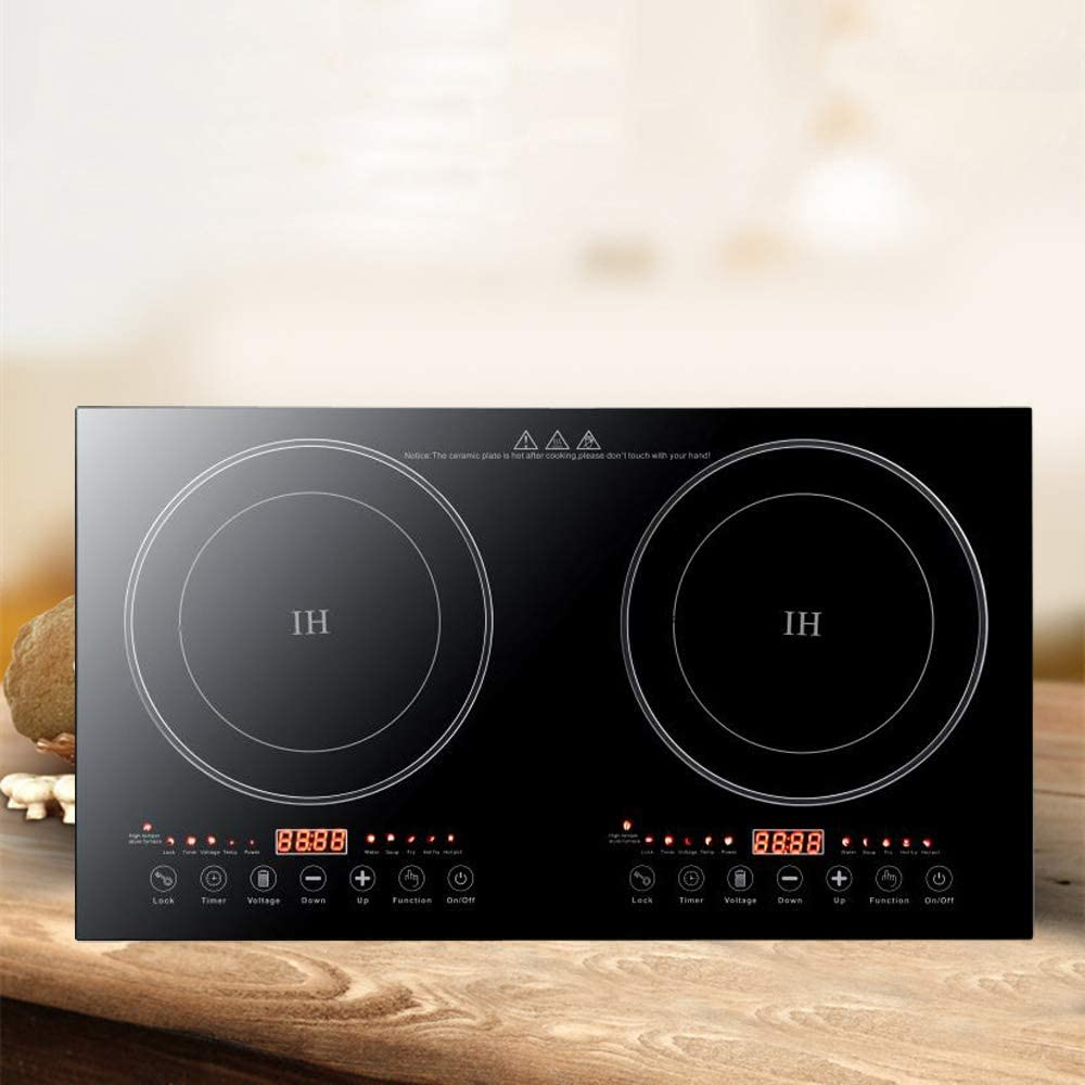 Dual Induction Cooker Cooktop Digital Hot Plate Digital Electric Countertop Burner Touch Sensor Control Stove Dual Hot Plate 8 Gear Firepower (1200W+1200W)