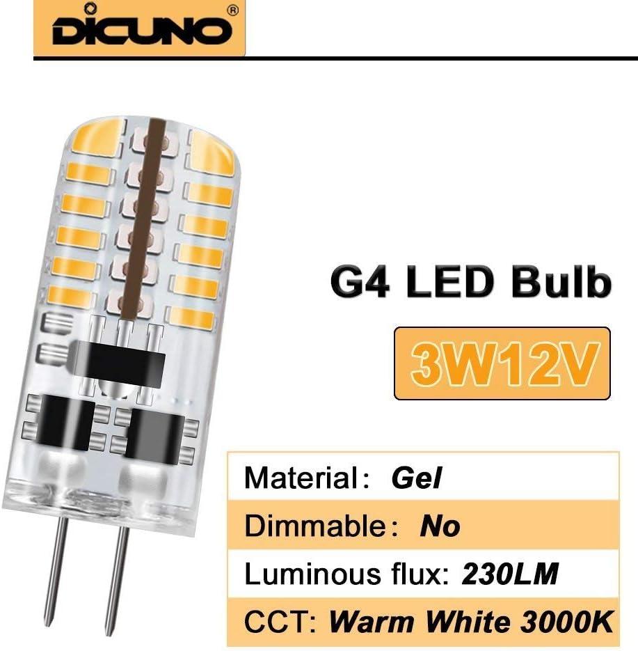 AC//DC 12V 360/° Angle de Faisceaux 230LM Non-Dimmable /Économies d/'/énergie DiCUNO 10pcs G4 3W LED Ampoule Blanc froid 6000K Remplacement 20-25W Lampe halog/ène