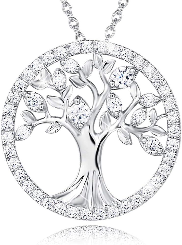 AGVANA Collar del Árbol de la Vida Plata de ley 925 chapado en oro blanco Colgante redondo de plata con o sin piedras para mujeres niñas con caja de regalo de joyería, Diámetro: 2 * 2,5 cm