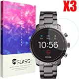 Lamshaw Fossil Q Explorist HR Screen Protector, 9H Tempered Glass Screen Protector for GEN 4 SMARTWATCH - Q EXPLORIST HR (3-Pack)