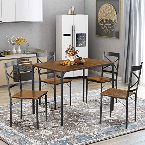 5 Piece Dining Set,ViYoung Vintage Wood Top Home Kitchen Table with 4 Chairs Wood and Metal Dining Room Breakfast Modern Furniture