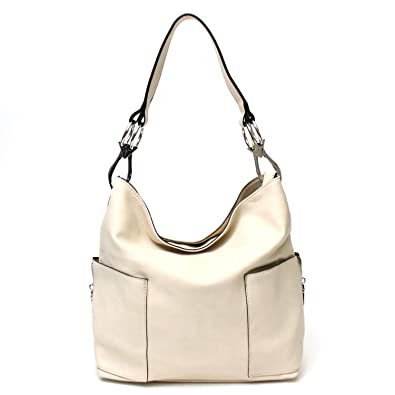 9a770e2219 Amazon.com: Americana Bucket Style Hobo Shoulder Bag with Big Snap Hook  Hardware and Side Zipper Pocket: Shoes