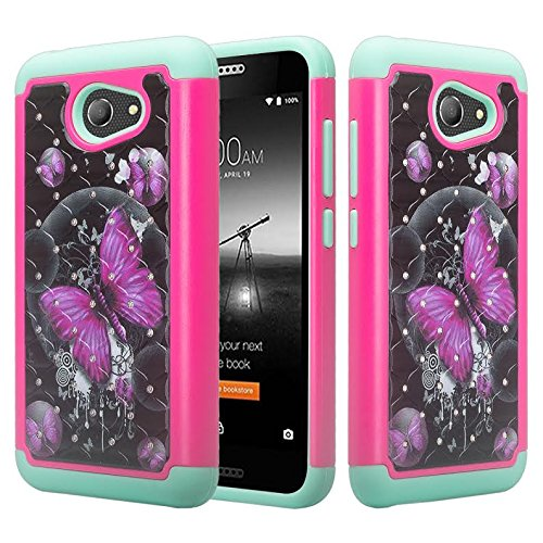 Alcatel Zip Case, Alcatel A30 Case, Alcatel Kora Case, SOGA [Jewel Gem Series] Hybrid Diamond Bling Protective Case Cover for Alcatel A30 [Impact Resistant][Drop Protection] - Pink Butterfly/Teal Jewel Zip