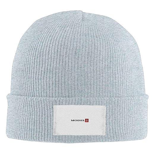 ed57a313 Amazon.com: Tesla Model 3 Red Logo Men's Warm Winter Hat Knit Beanie ...