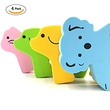 Amazon Com 4pcs Children Safety No Finger Pinch Foam Door Stopper Colorful Cartoon Animal Cushion Prevents Finger Pinch Injuries Slamming Doors And Baby Or Pet From Getting Locked In Room Baby
