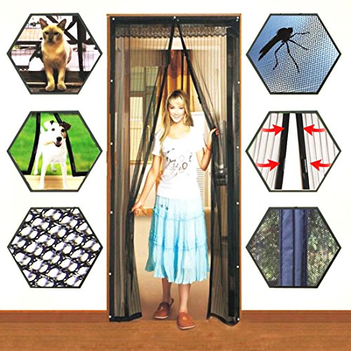 Mosquito Door Net Mesh Screen Bug Fly Pet Patio Hands Free Magnetic Magic Closer (Glass Victorian Panels Door)