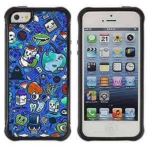 ZAKO Cases / Apple Iphone 5 / 5S / Funny Blue Pattern / Robusto Prueba de choques Caso Billetera cubierta Shell Armor Funda Case Cover Slim Armor