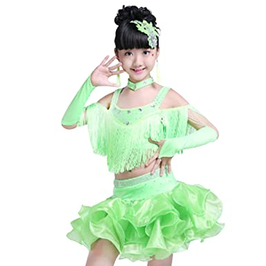 Amazon.com: huicai Niñas Lentejuelas borlas baile latino Cha ...