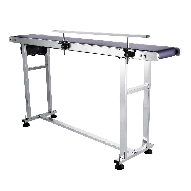 FlowerW 250W PVC Belt Electric Conveyor Machine Single Guardrail 59 x 7.8 Electric Laser Printing Code Conveyor Belt