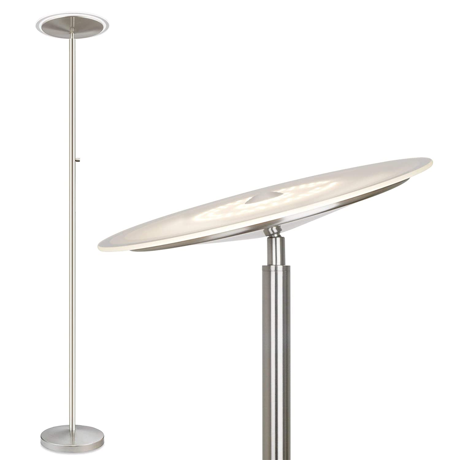 Kira Home Horizon 70 Modern LED Torchiere Floor Lamp 36W, 250W eq. , Glass Diffuser, Dimmable, Timer and Wall Switch Compatible, Adjustable Head, 3000k Warm White Light, Brushed Nickel Finish