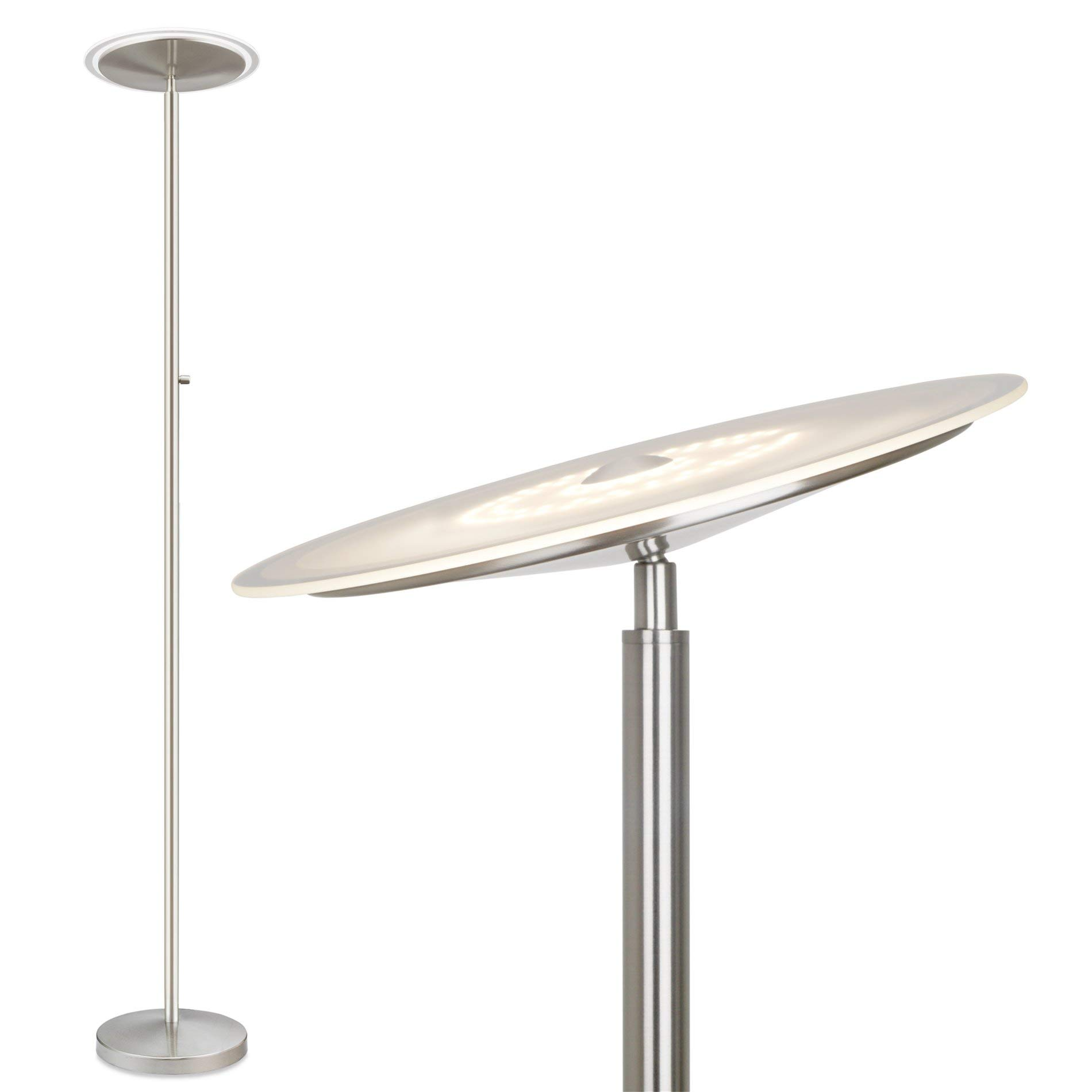 Kira Home Horizon 70'' Modern LED Torchiere Floor Lamp (36W, 250W eq.), Glass Diffuser, Dimmable, Timer and Wall Switch Compatible, Adjustable Head, 3000k Warm White Light, Brushed Nickel Finish by Kira Home
