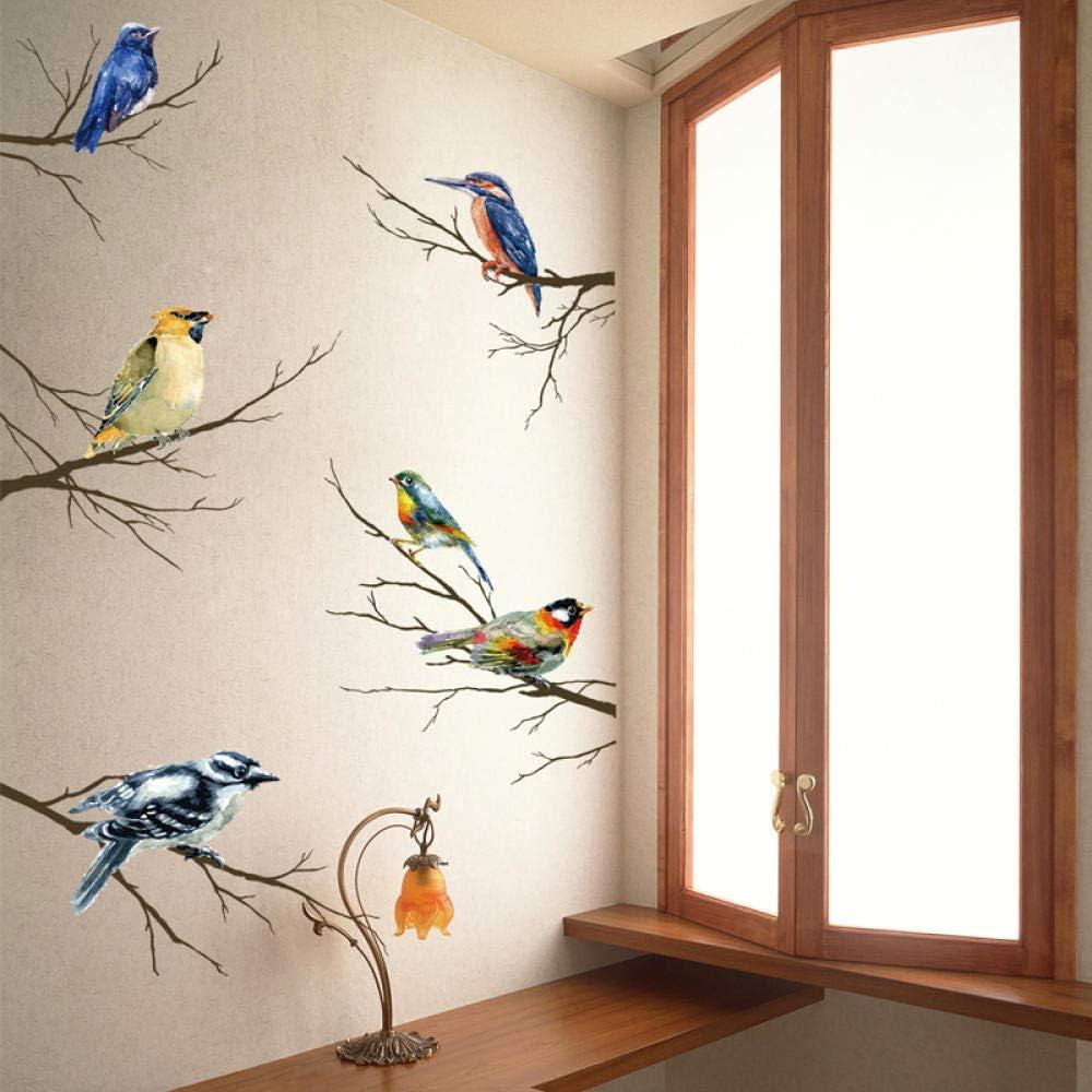 Personalidad creativa pegatinas para perros tienda de mascotas decoración de gabinete de pared papel pintado autoadhesivo fondo pegatinas de pared-pájaros en ramas
