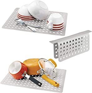 mDesign Decorative Kitchen Plastic Sink Protector Set, Quick Draining - Protect Surfaces and Dishes - Modern Slotted Design - Includes 1 Saddle, 2 Large Mats - Set of 3 - Light Gray