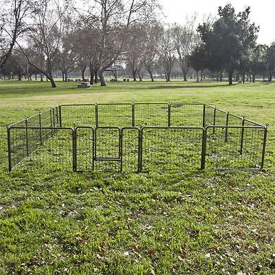 16 Panel Heavy Duty Cage Pet Dog Cat Barrier Fence Exercise Metal Playpen Kennel by ShinShop by ShinShop
