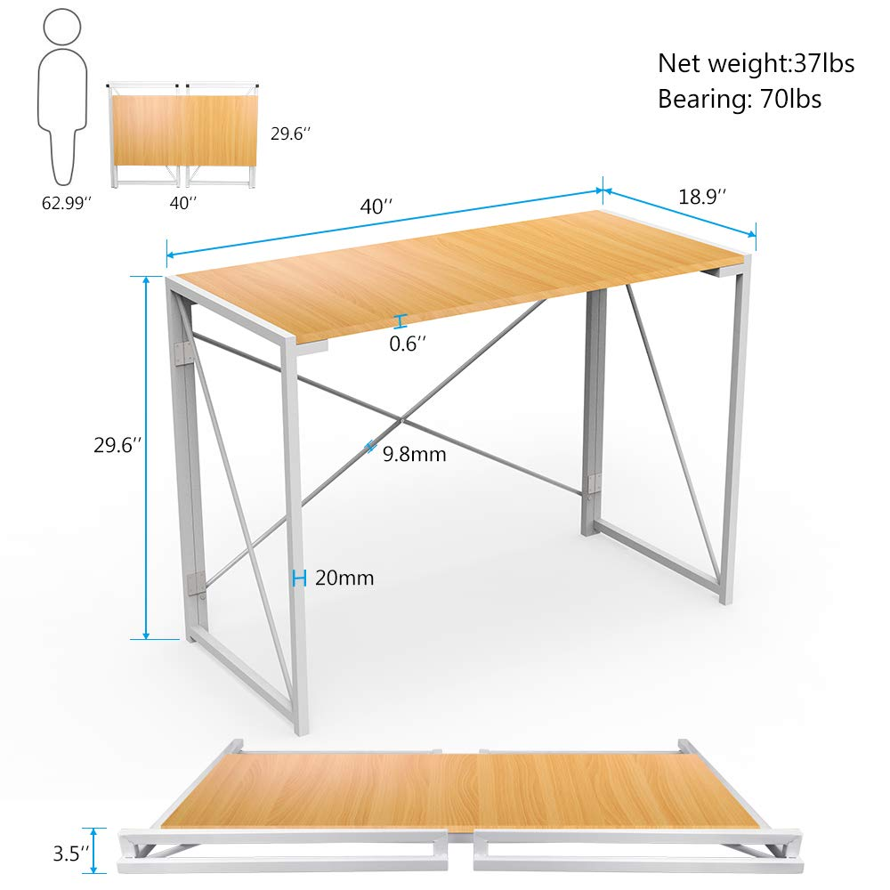 Folding Computer Desk, 39'' No Assembly Foldable Table Compact Steel Frame Wood Table Simple Modern Style Writing Study Desk Rectangular PC Laptop Workstation for Home & Office | Beech