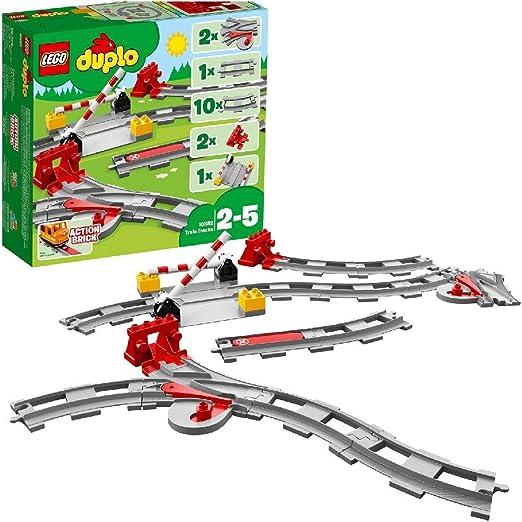 Lego Duplo ferrocarril Train gris oscuro precisamente Ferrocarril Tren de transición Track