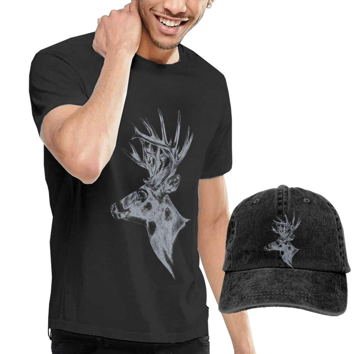 Cool Deer Art Fashion Mens T-Shirt and Hats Youth /& Adult T-Shirts