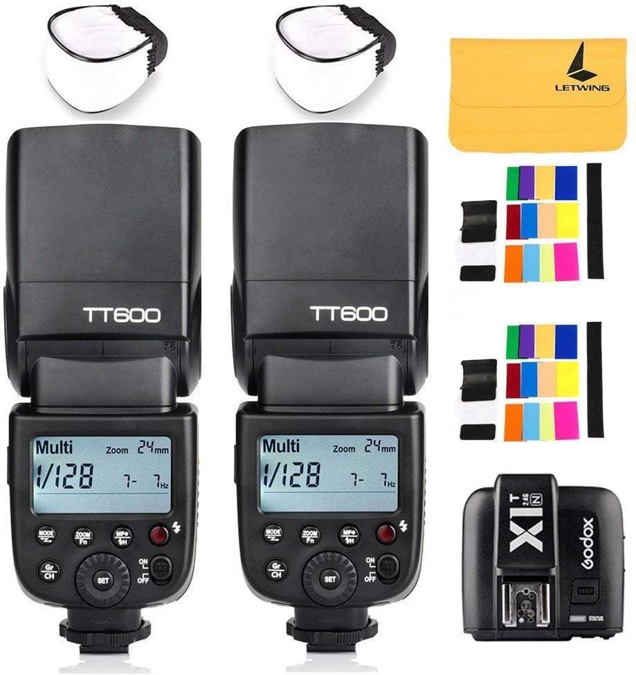 GODOX TT600 2.4G Wireless 2X Camera Flash Speedlite,GODOX X1T-N Flash Trigger for Nikon Cameras