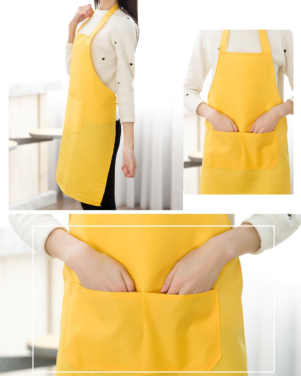 TSD STORY Total 12 PCS Plain Color Bib Apron Adult with 2 Front Pocket (Black) by TSD STORY (Image #5)
