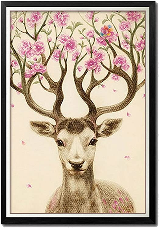 40x57cm FENGZUWJP Deer 5d Diamond Painting Diy Embroidery Rhinestone Painting By Number Kits Full Art Crafts 16 by 22-inch