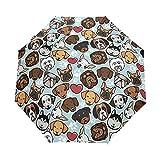 WOZO Hipster Paw Print Pug Dog 3 Folds Auto Open Close Umbrella