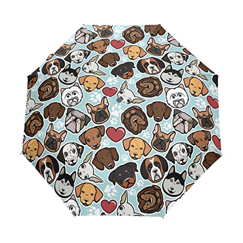 WOZO Hipster Paw Print Pug Dog 3 Folds Auto Open Close Umbrella (Umbrella Print)