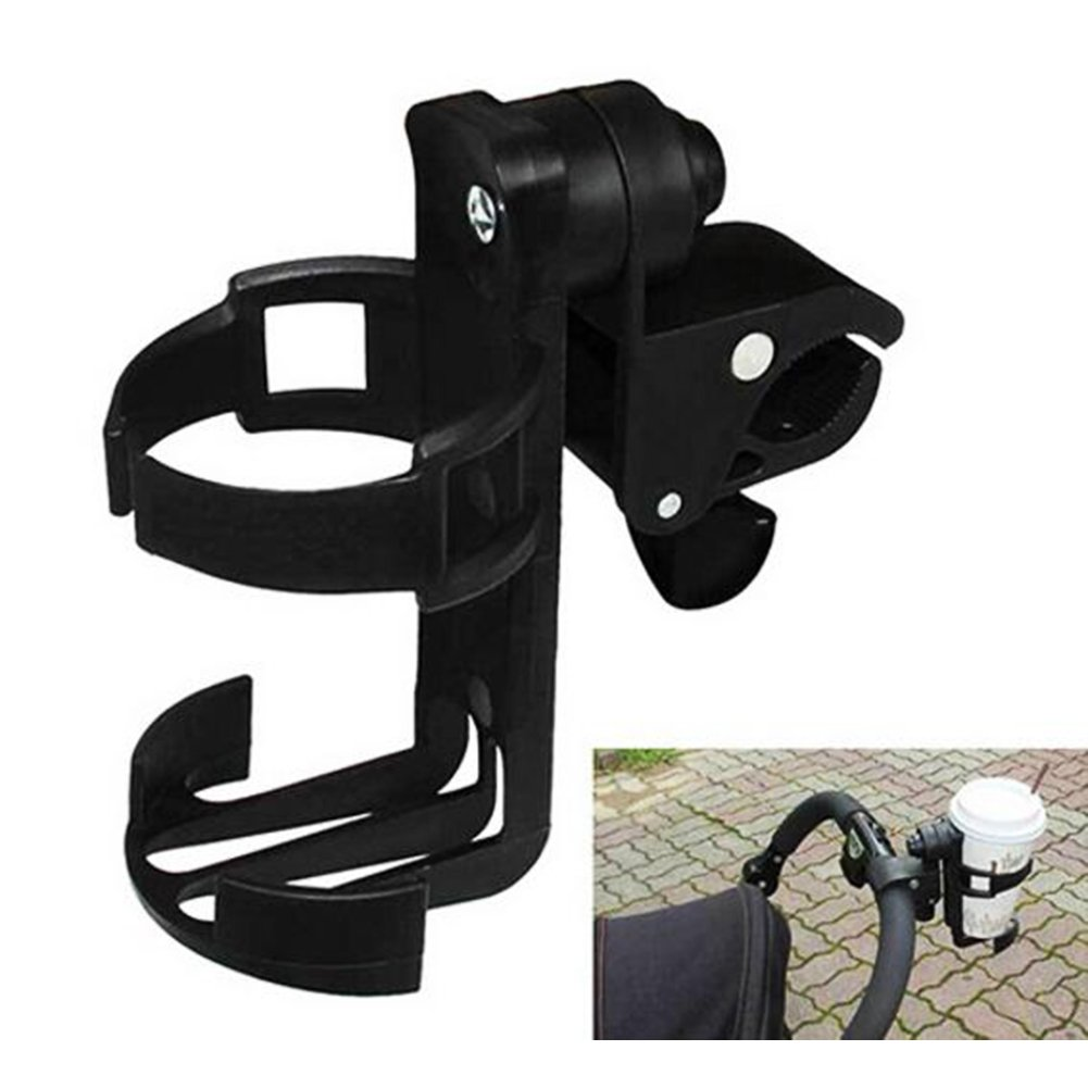 Baby Stroller Cup Holder 360°Rotation Pushchair Baby Bottle Organizer Universal Beverage Bottle Cup Clamp Handle Support for Baby Stroller, Buggy, Bicycle, Bike and Mountain Bike Black (2 PCS)