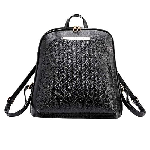 4aebd9e93442 Rakkiss Women Backpack Fashion Retro Solid Weaving Computer Bag ...