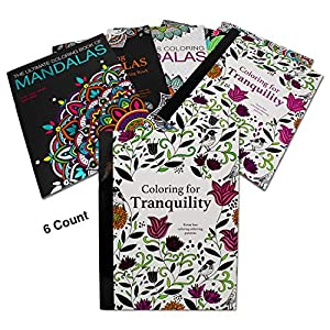 Adult Coloring Books for Stress and Relaxation | Patterns, Mandala and Nature Themed Coloring Books (6 Count) Easy Tear-Out Pages, 8 inch x 11 inch