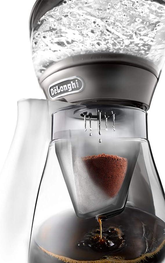 DeLonghi Clessidra ICM 17210 Cafetera de filtro, preparación según estándares ECBC y clásico procedimiento de chorro, termostato para temperatura ideal, hasta 10 tazas, 1,25 litros, plata: Amazon.es: Hogar