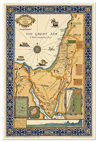 MAP of HOLY LAND showing historical boundaries, roads, railw
