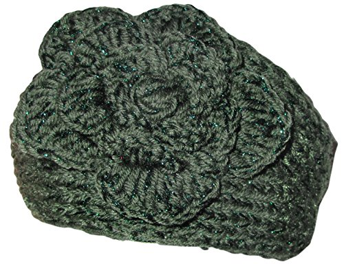 KMystic Knit Winter Headband Ear Warmer with Sparkles (Olive)